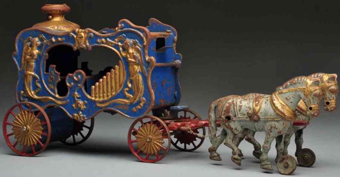 hubley koenigliche zirkuskutsche orgel zwei pferde