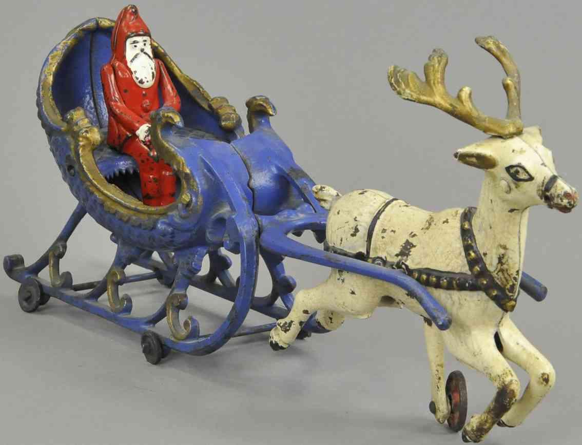 hubley gusseisen weihnachtsmann schlitten ein rentier