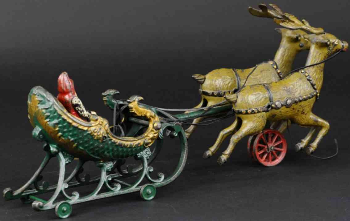 hubley gusseisen weihnachtsmann schlitten zwei rentiere