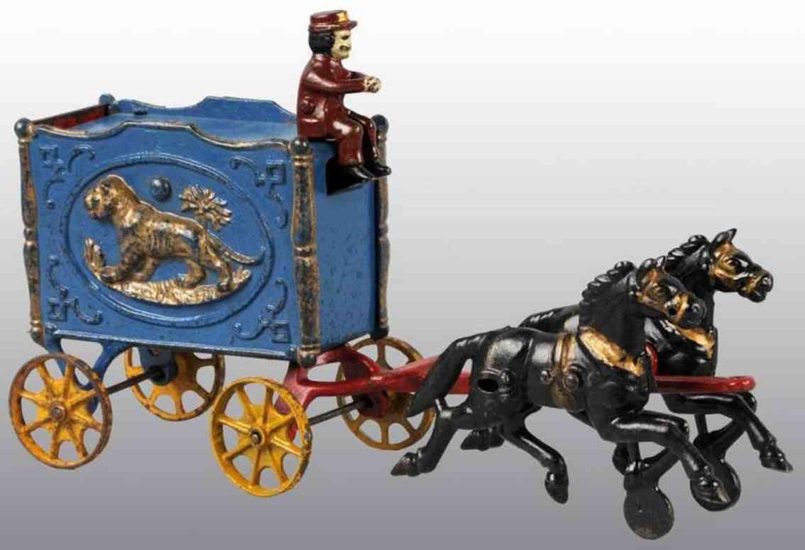 Hubley Zirkuswagen in blau mit Tiger zwei Pferden und Kutscher