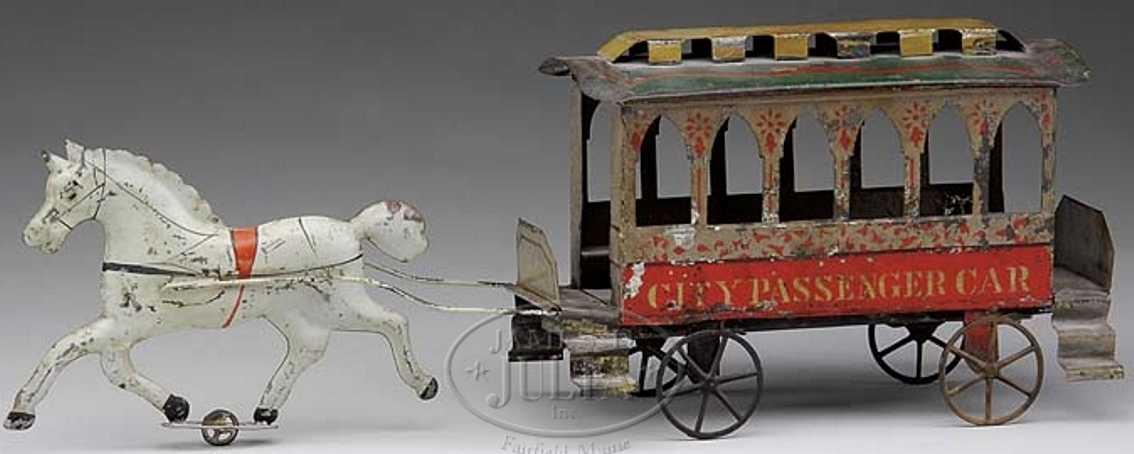 hull & stafford blech spielzeug kutsche-strassenbahn ein pferd