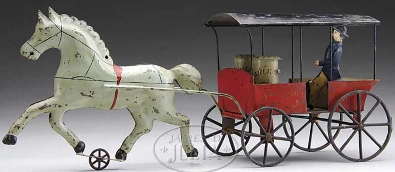 hull & stafford blech spielzeug kutsche milchkutschenwagen  ein pferd