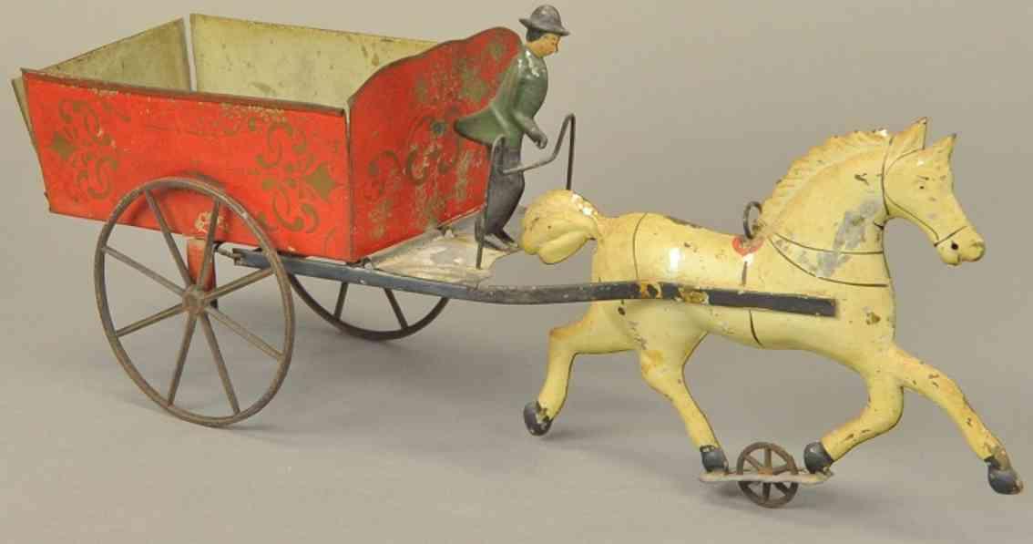 hull & stafford blech spielzeug kutsche kippwagen ein pferd
