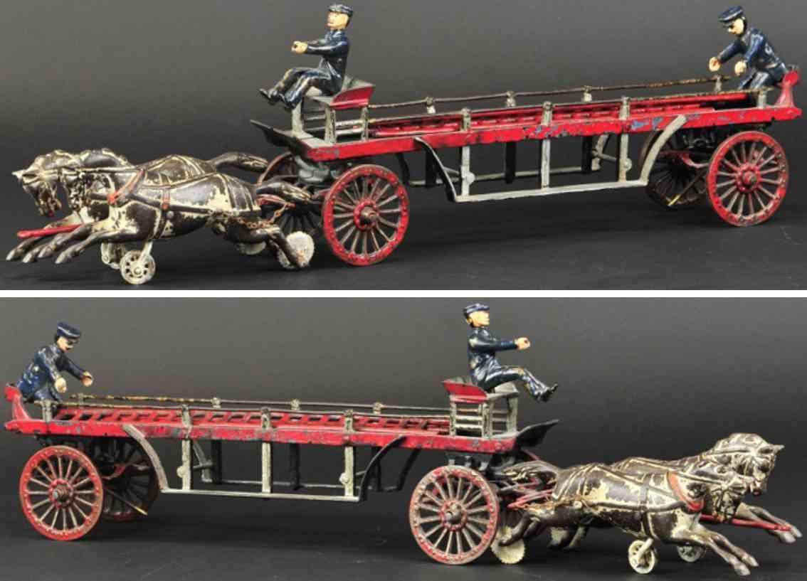 ideal toy spielzeug gusseisen feuerwehrleiterwagenkutsche zwei pferde