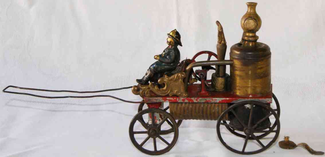 issmayer tin toy horse-drawn fire tank wagon steam sprayer with drawbar
