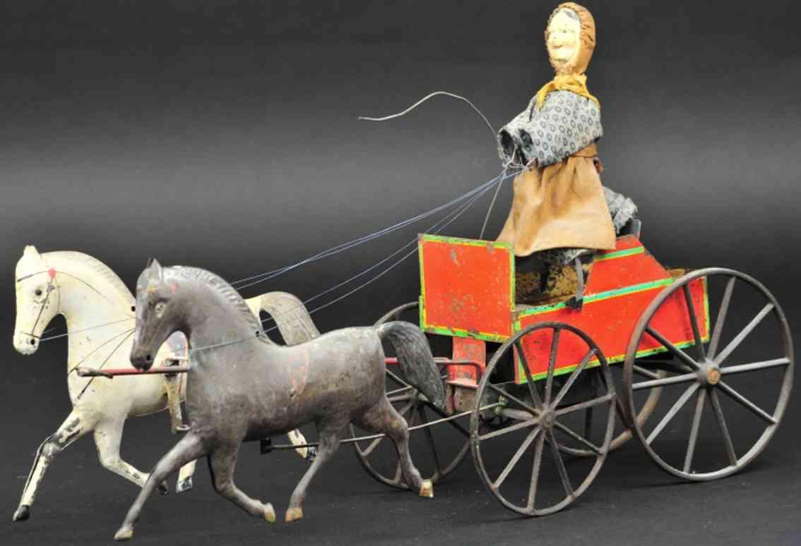 ives blech spielzeug karre zwei pferde frau als kutscher j b cuzner