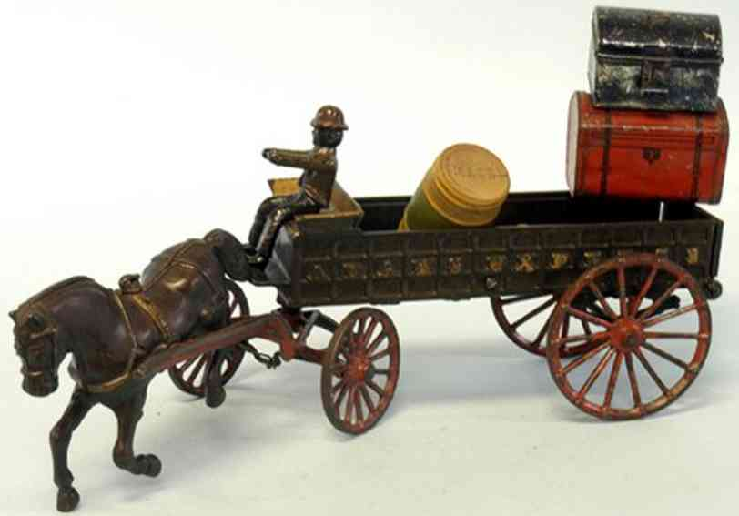 ives cast iron toy adams express wagon one horse