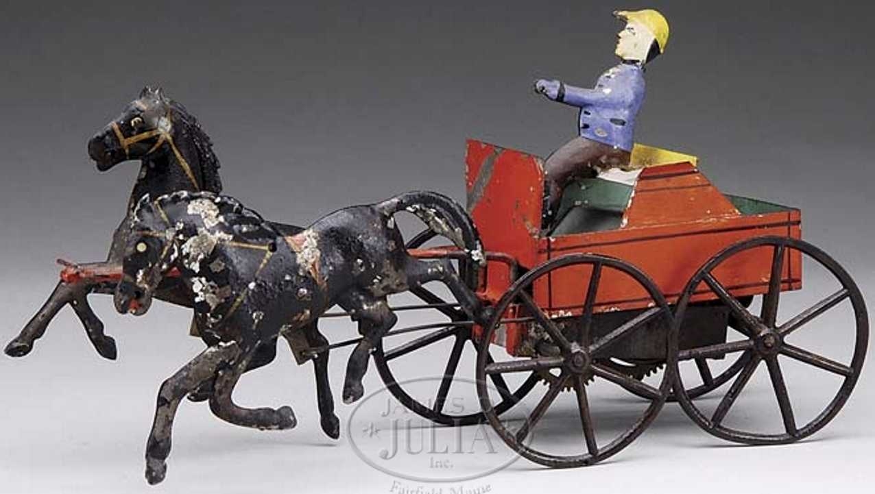 ives tin toy coach clockwork cart two galloping horses