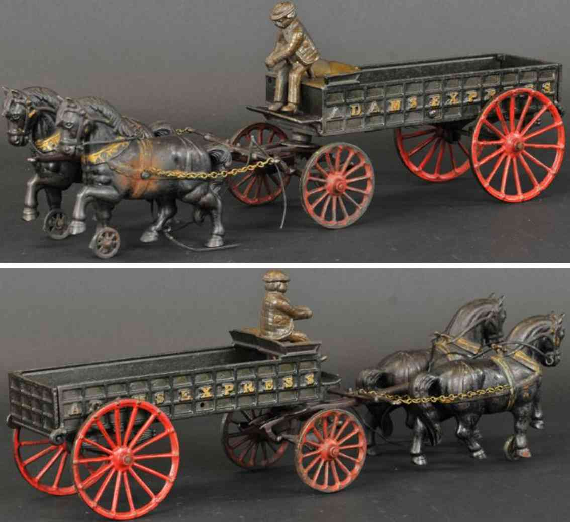 ives cast iron toy adams express wagon driver two horses