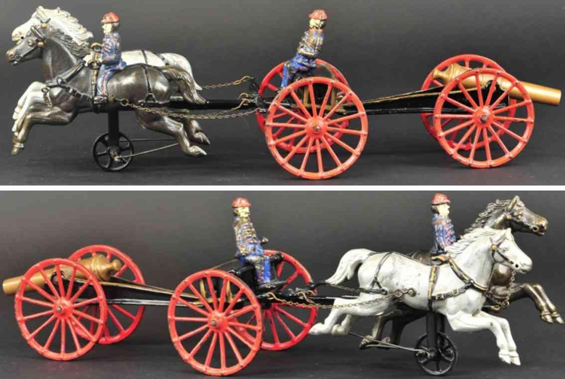 ives spielzeug gusseisen fliegende artillerie zwei pferde