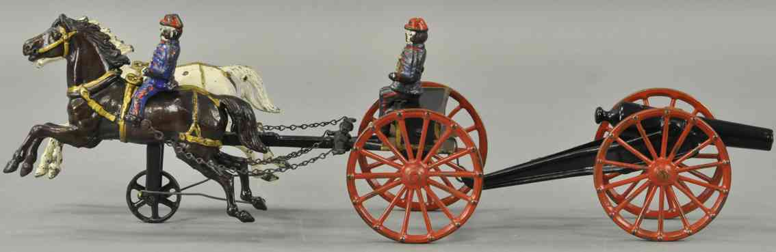 ives cast iron toy flying artillery two horses black white