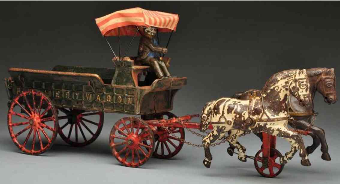 Ives Cast iron brewery wagon horse-drawn toy and canopy