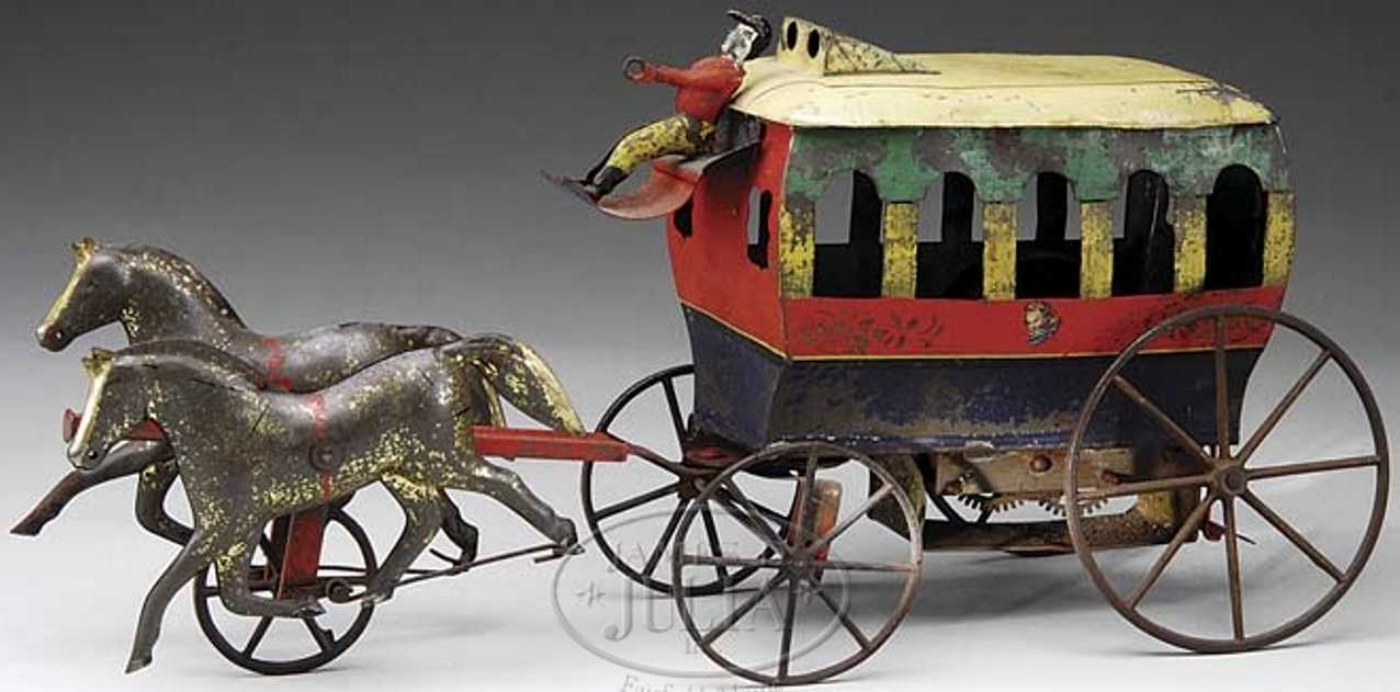 ives tin toy coach clockwork omnibus two horses