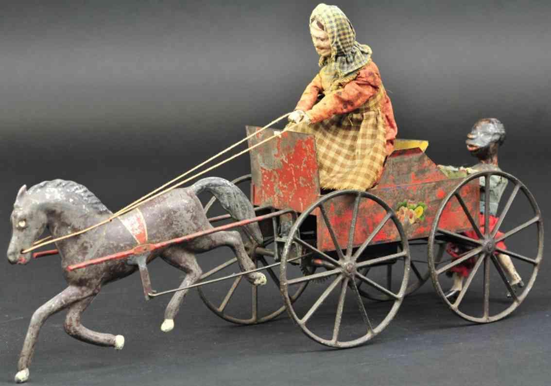 ives blech spielzeug kutsche frau auf karre ein pferd junge uhrwerk