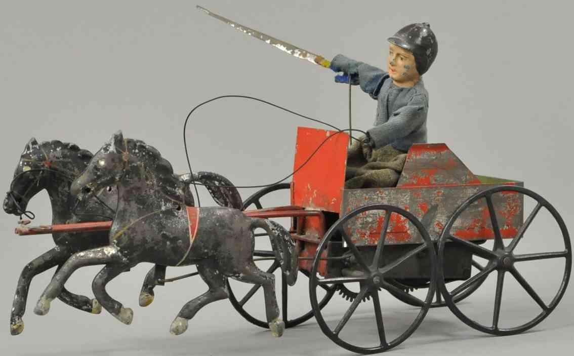 ives blech spielzeug karre mit jockey und zwei pferden