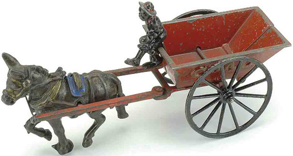 ives cast iron toy coal wagon mule driver