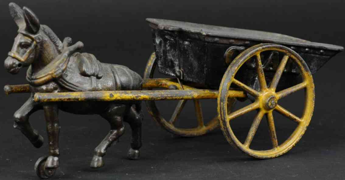ives cast iron toy coal wagon one donkey
