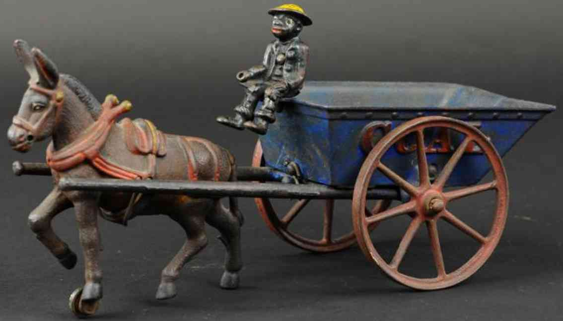 ives cast iron toy tipping coal wagon blue brown