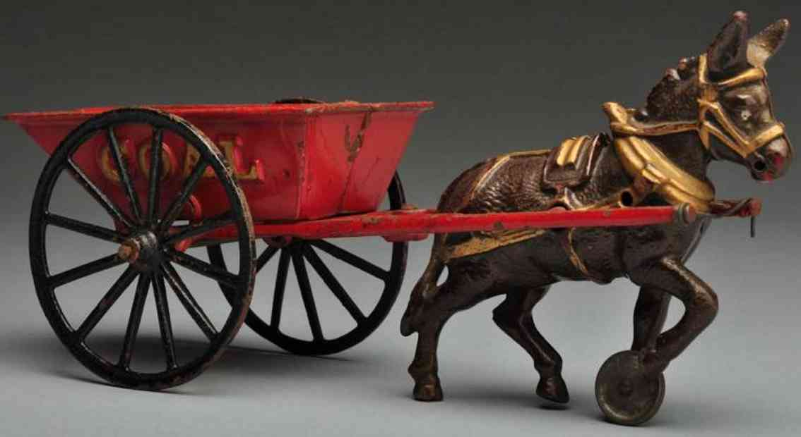ives cast iron toy coal wagon donkey