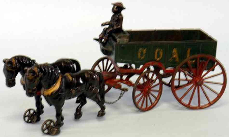 ives cast iron toy coal wagon driver