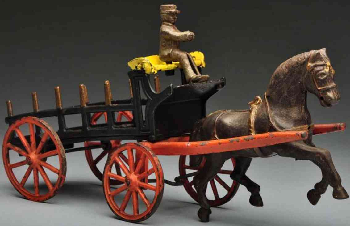 Ives Cast iron balancing horse dray wagon toy