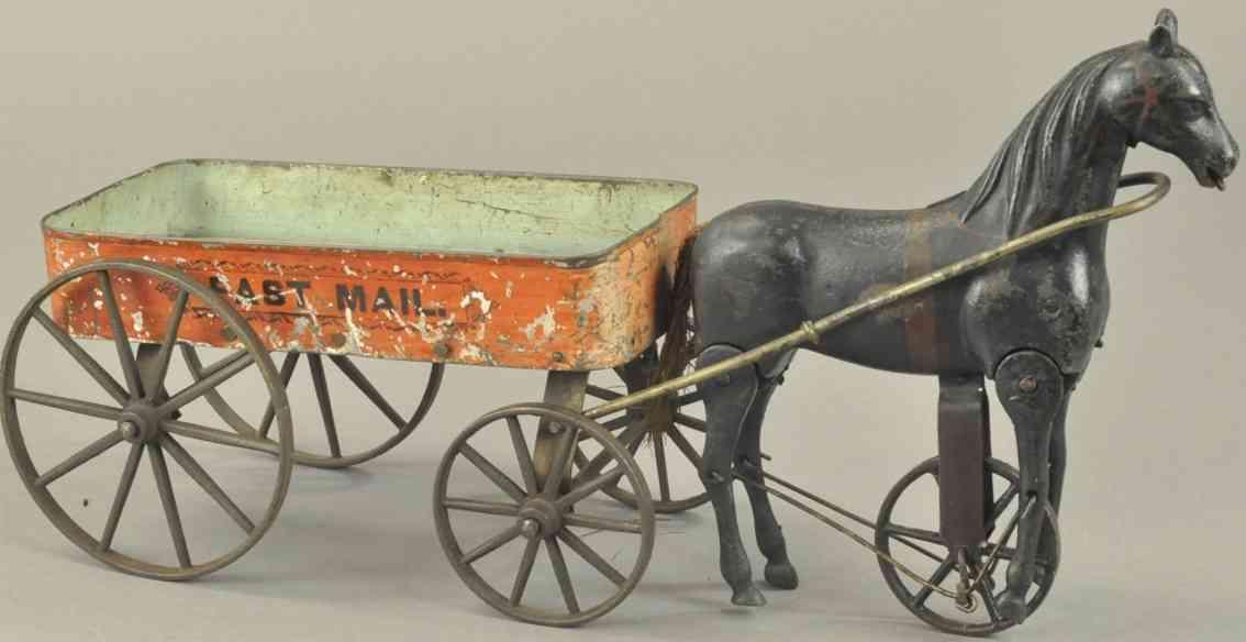 ives fast mail spielzeug gusseisen offene karre schwarzes pferd post