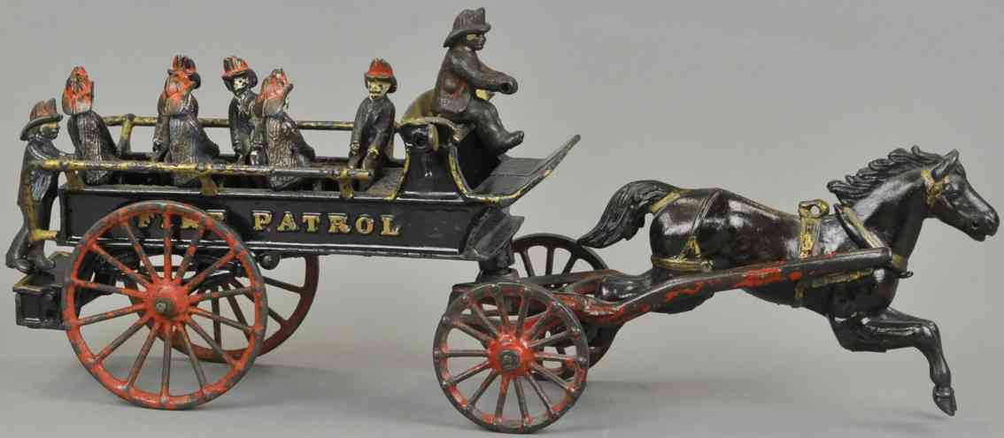 ives cast iron toy ire patrol wagon one horse eight firmen black