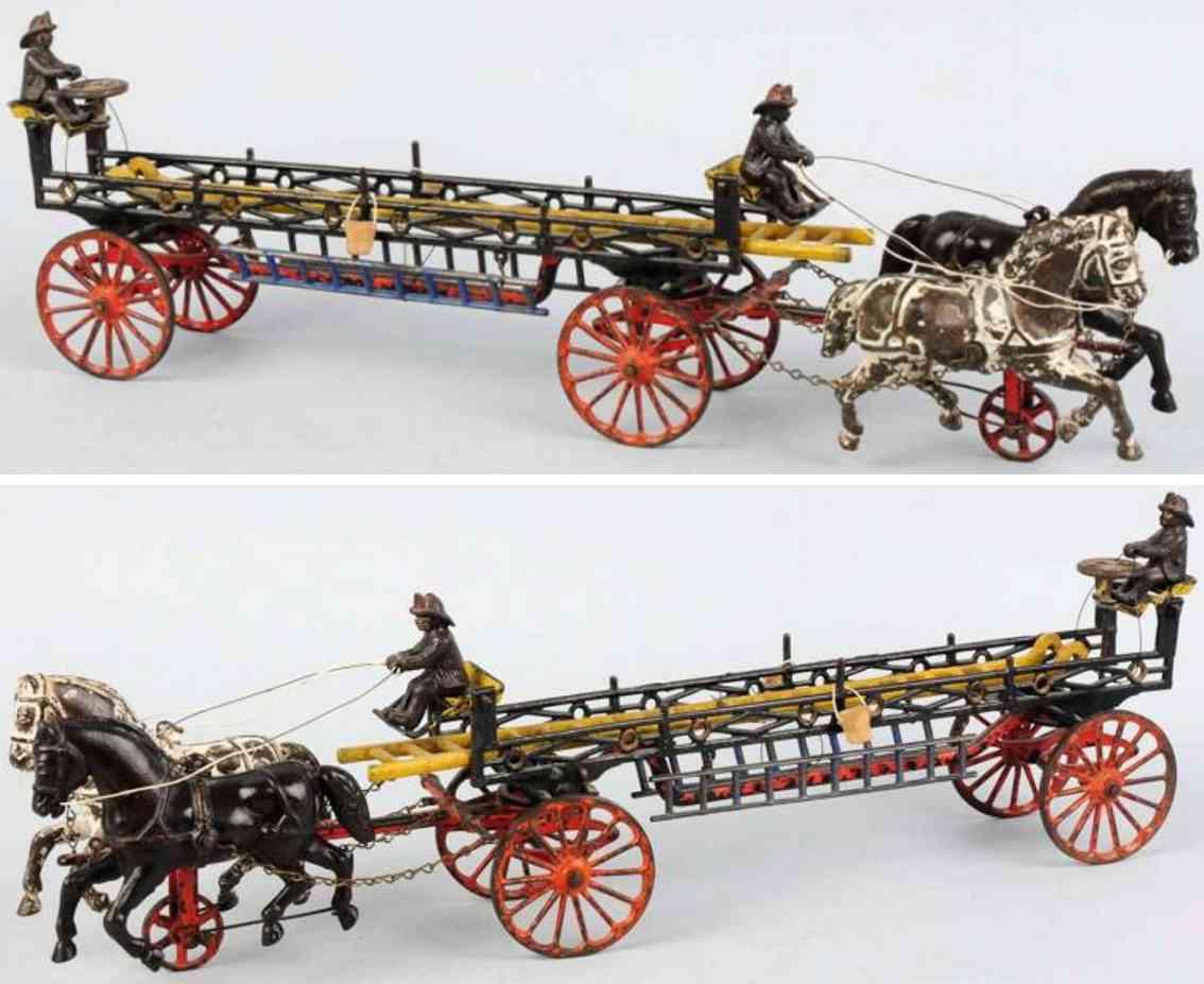 ives cast iron toy cast iron fire ladder horse-drawn wagon phoenix