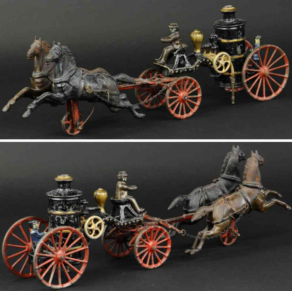 ives cast iron toy fire pumper wagon black two horses