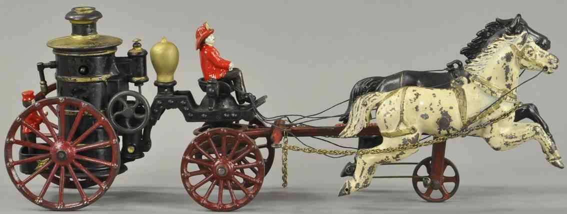 ives spielzeug gusseisen kutsche feuerwehrkessel zwei pferde