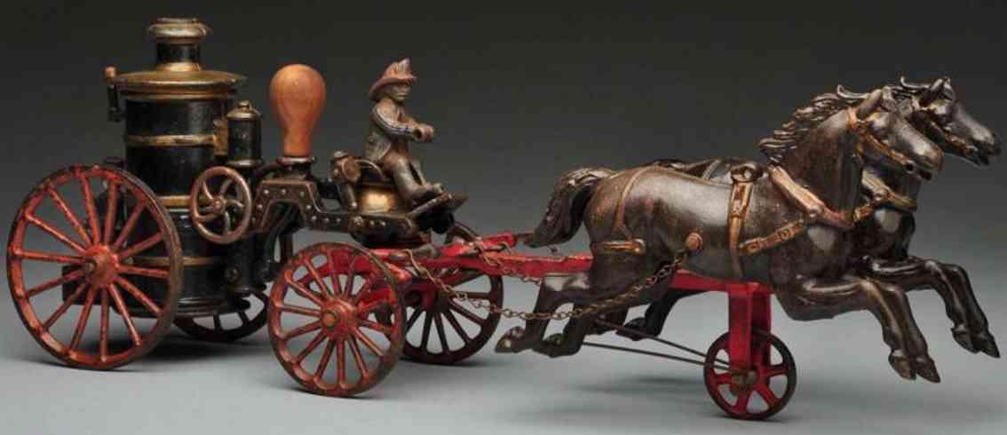 ives cast iron fire pumper horse-drawn toy phoenix pumper