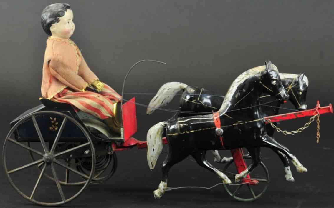 ives gig blech spielzeug offener einspaenner junge zwei pferde