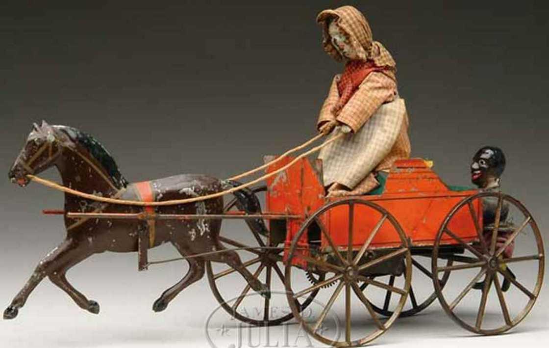 ives tin toy coach hook cart one horse woman