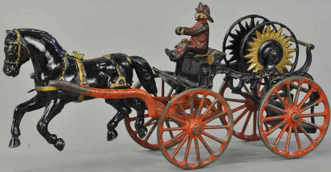 ives cast iron toy hose reel one black horse