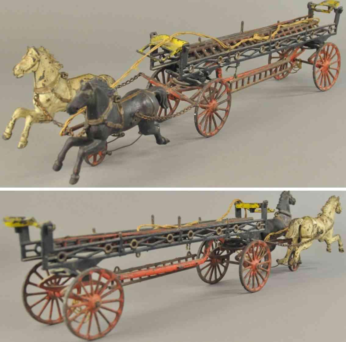 ives spielzeug gusseisen feuerwehrleiterkutsche mit zwei pferden