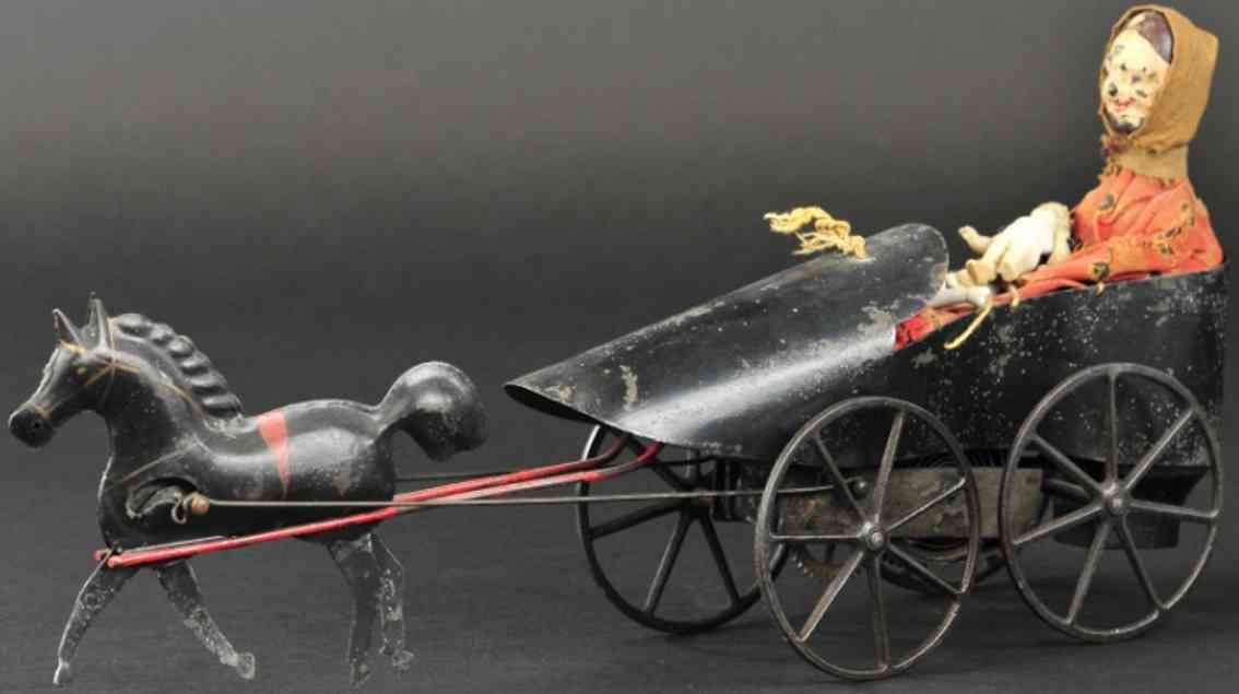 ives blech spielzeug frau im schuh ein schwarzes pferd uhrwerk