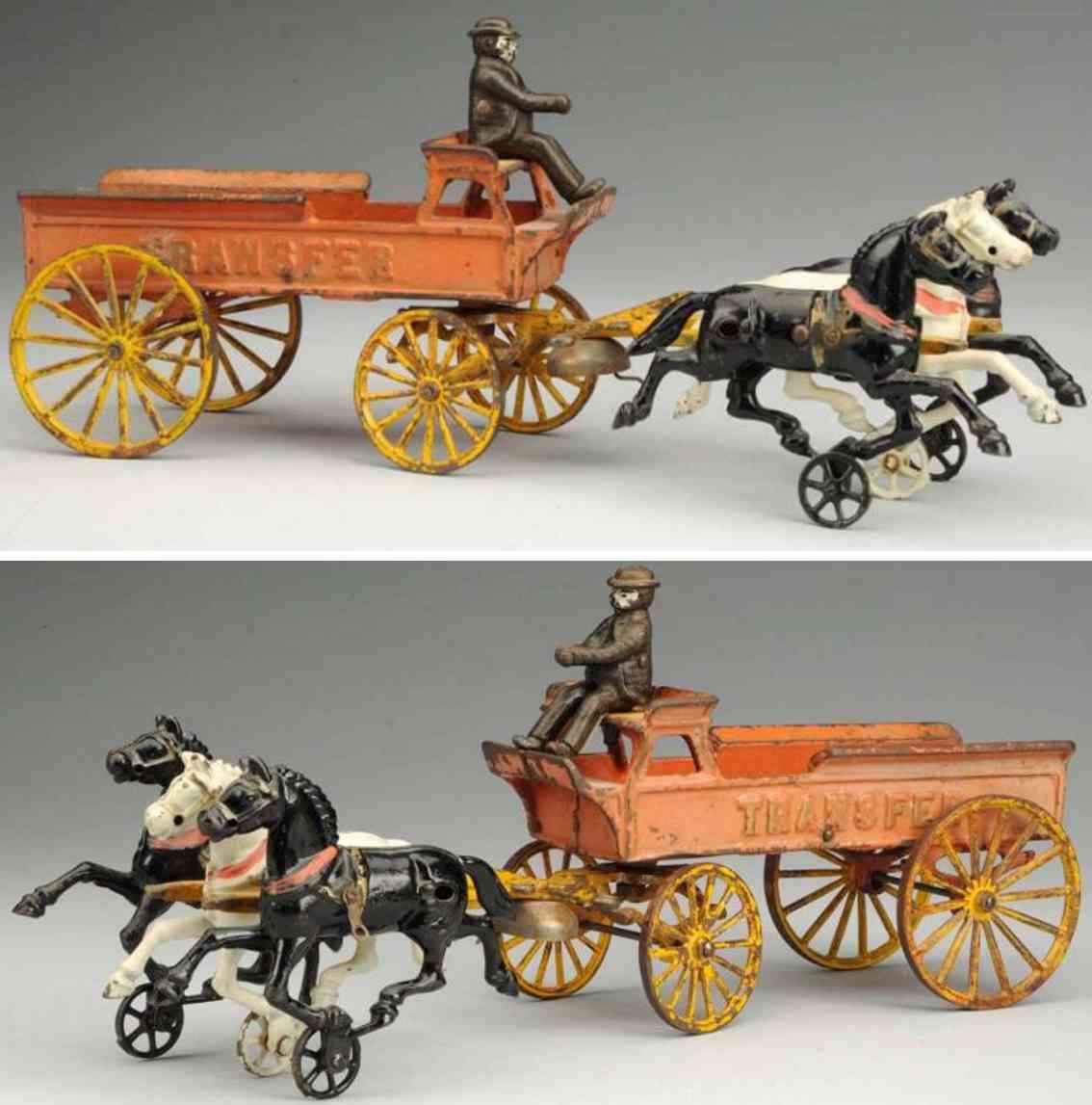 ives spielzeug gusseisen kutsche drei pferde