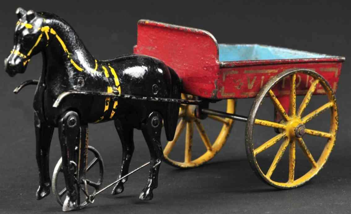 ives spielzeug gusseisen pferdekarre rot blau victor ein laufendes pferd