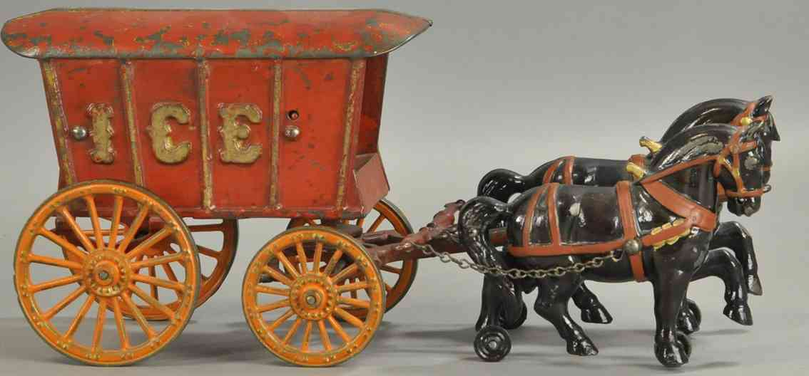 jones & bixler cast iron toy horse drawn ice wagon two horses