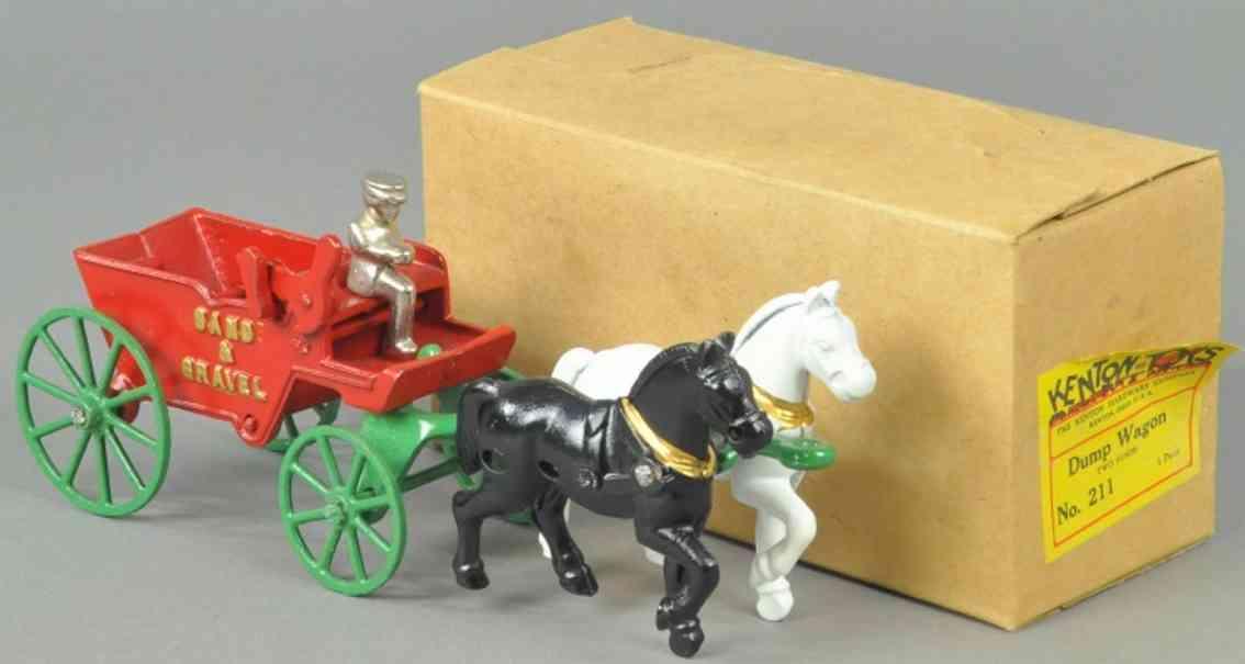kenton hardware co 211 gusseisen sandkutsche kieskutsche rot zwei pferden