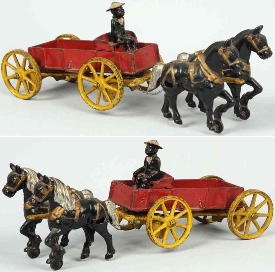 kenton hardware co spielzeug gusseisen kutsche 2 pferde