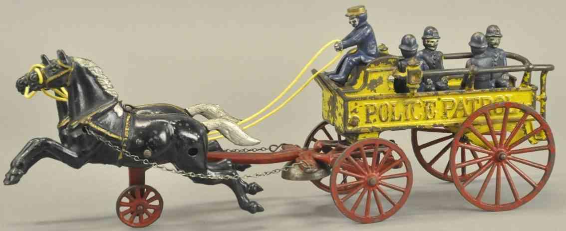 kenton hardware co spielzeug gusseisen polizeikutsche gelb zwei schwarze pferde