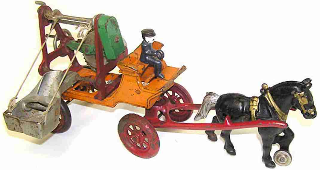 kenton hardware co cast iron toy cement mixer one horse