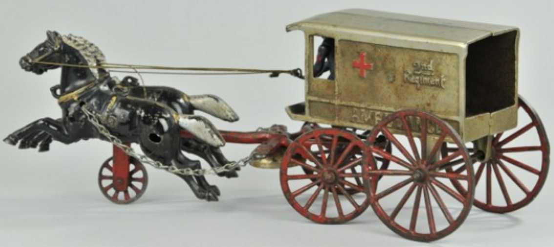 kenton hardware co spielzeug gusseisen ambulanzkutsche zwei pferde