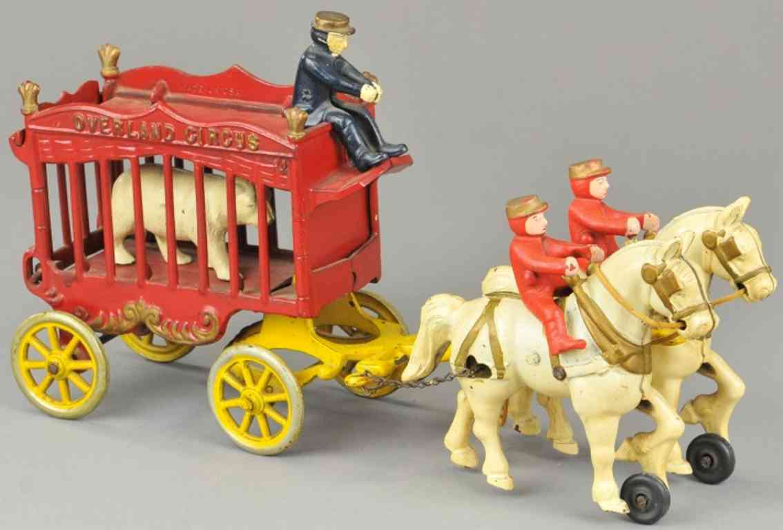 kenton hardware co cast iron toy overland circus bear cage wagon