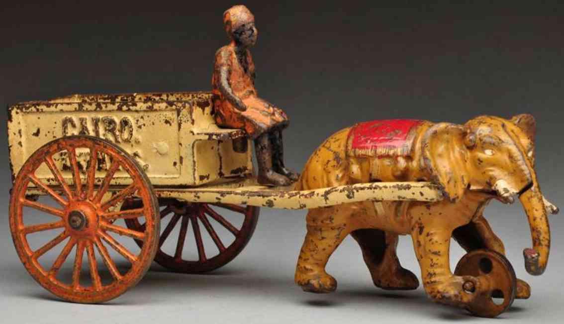 kenton hardware co cairo express cast iron toy elephant-drawn