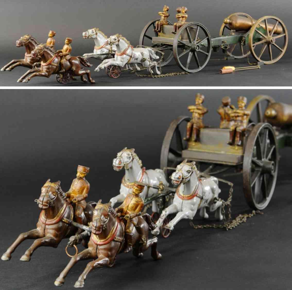kenton hardware co cast iron toy caisson canon four horses