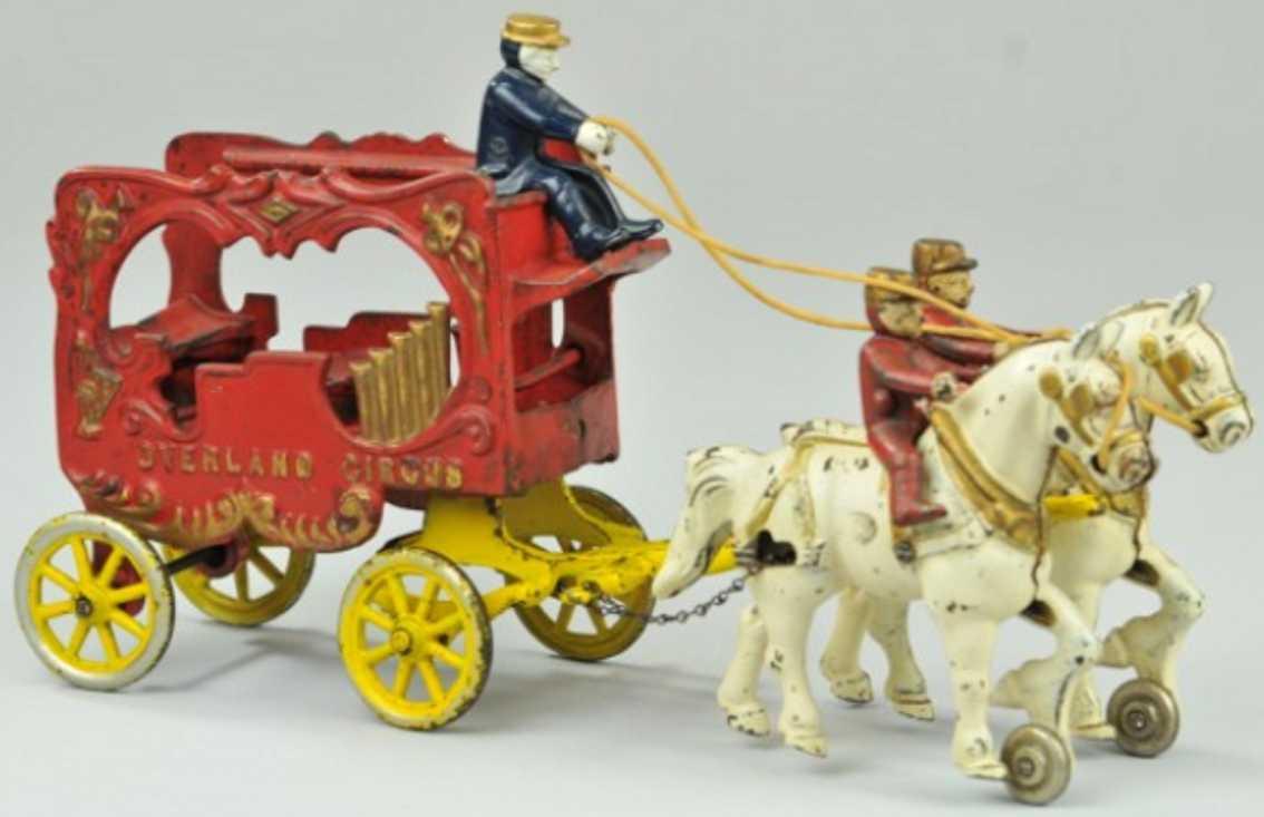 kenton hardware co cast iron toy overland circus calliope