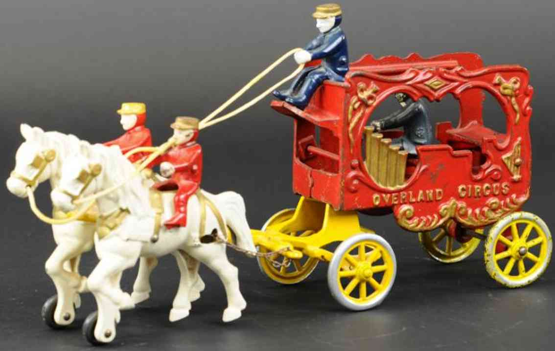 kenton hardware co cast iron toy overland circus calliope wagon