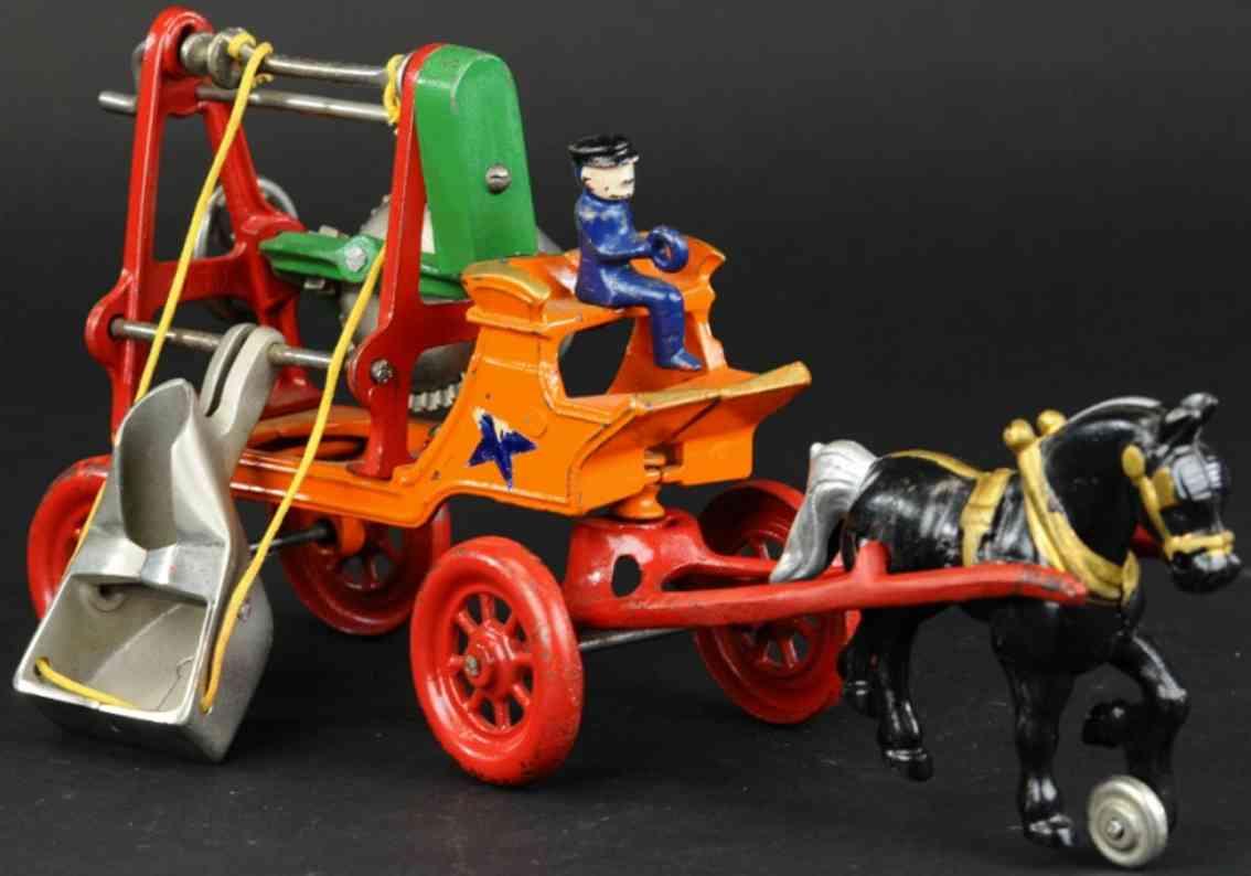kenton hardware co cast iron toy horse cement mixer